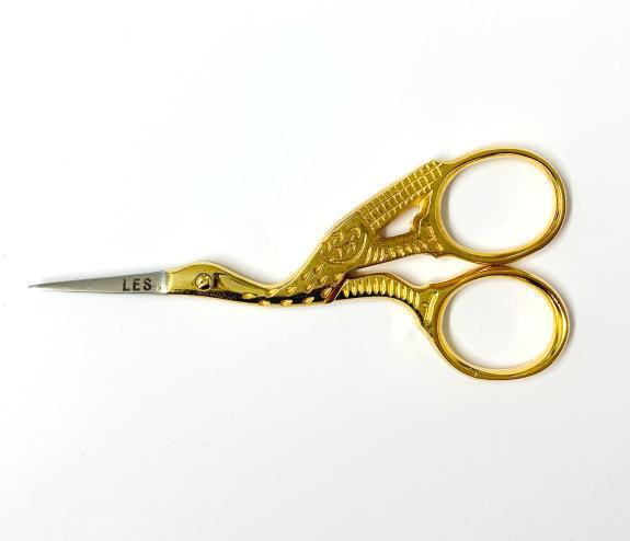 scissors, snips, gold scissors, equipment, sewing, embroidery, stork