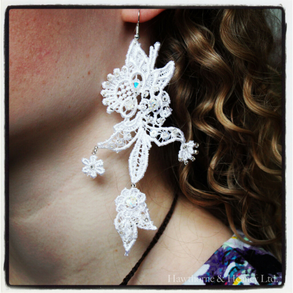 lace, jewellery, lace jewellery, bead, earring, beading, sequins,
