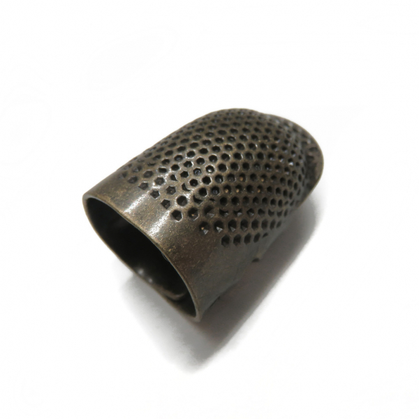 thimble, bronze thimble, open sided, open sided thimble, equipment, tools, sewing equipment, embroidery equipment, embroidery tools, embroidery