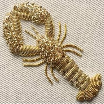 Goldwork, Gold work,lobster, embroidery, sewing, cutwork, wire, gold, gold wire