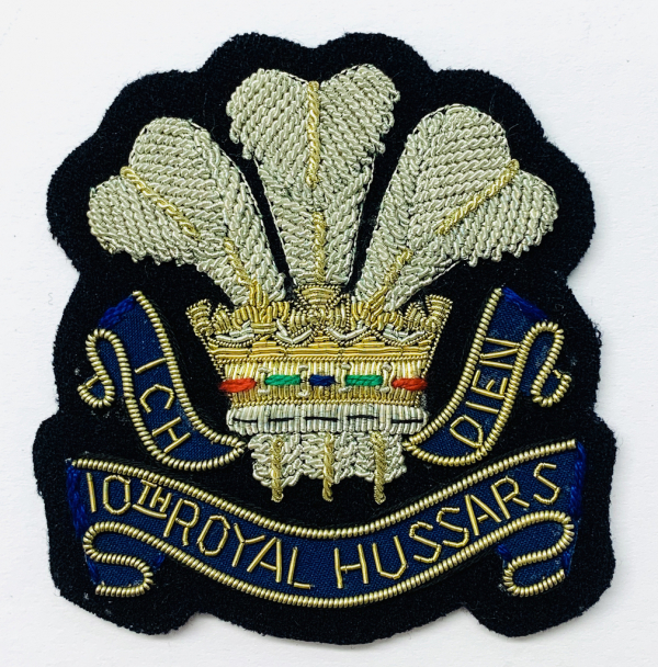 10th Royal Hussars Blazer Badge, Gold Badge, Cap Badge,Blazer, badge, Cap, Cap Badge, Blazer Badge, Vintage badge, military, military badge, military button