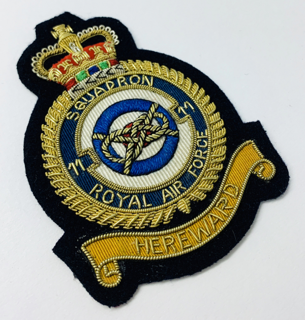 RAF 11th Squadron Blazer Badge, Gold Badge, Cap Badge,Blazer, badge, Cap, Cap Badge, Blazer Badge, Vintage badge, military, military badge, military button