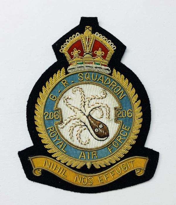 RAF 206th Squadron Blazer Badge, Gold Badge, Cap Badge,Blazer, badge, Cap, Cap Badge, Blazer Badge, Vintage badge, military, military badge, military button