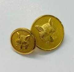 Fox Head Button, button, gold button, military button, military, gold, label, embellishment, accessory