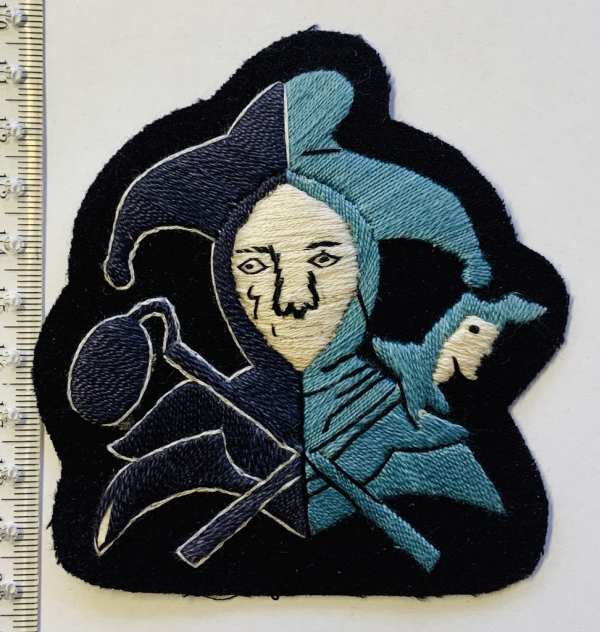 Jester Blazer badge, white Face, navy base, Jester, badge, Cap, Cap Badge, Blazer Badge, Vintage badge, military, military badge, military button
