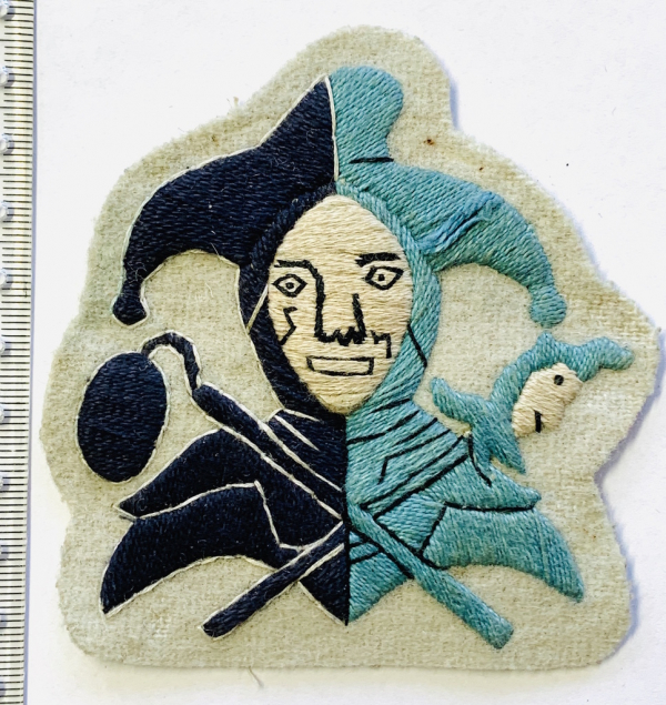 Jester Blazer badge, white Face, white base, Jester, badge, Cap, Cap Badge, Blazer Badge, Vintage badge, military, military badge, military button