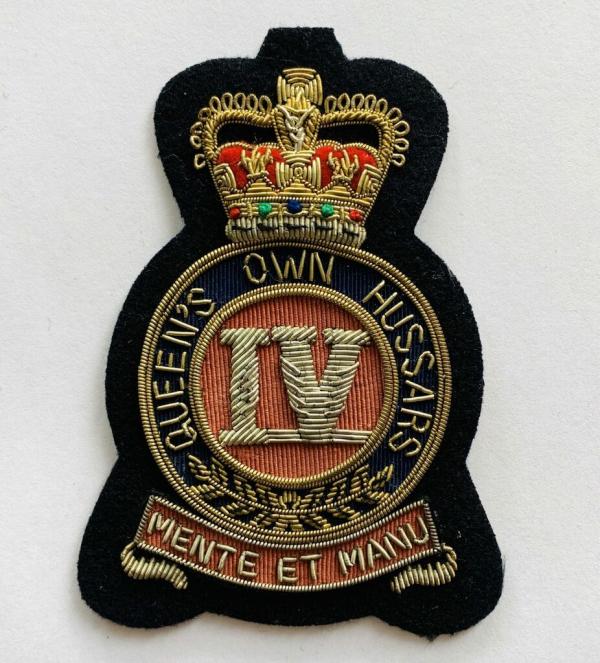 The Queens Own Hussars Blaze Badge, Gold Badge, Cap Badge,Blazer, badge, Cap, Cap Badge, Blazer Badge, Vintage badge, military, military badge, military button