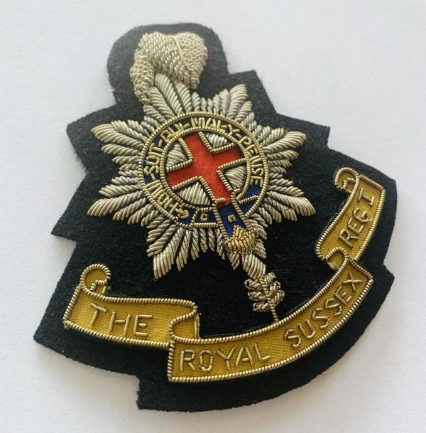 The Royal Sussex Regiment Blaze Badge, Gold Badge, Cap Badge,Blazer, badge, Cap, Cap Badge, Blazer Badge, Vintage badge, military, military badge, military button