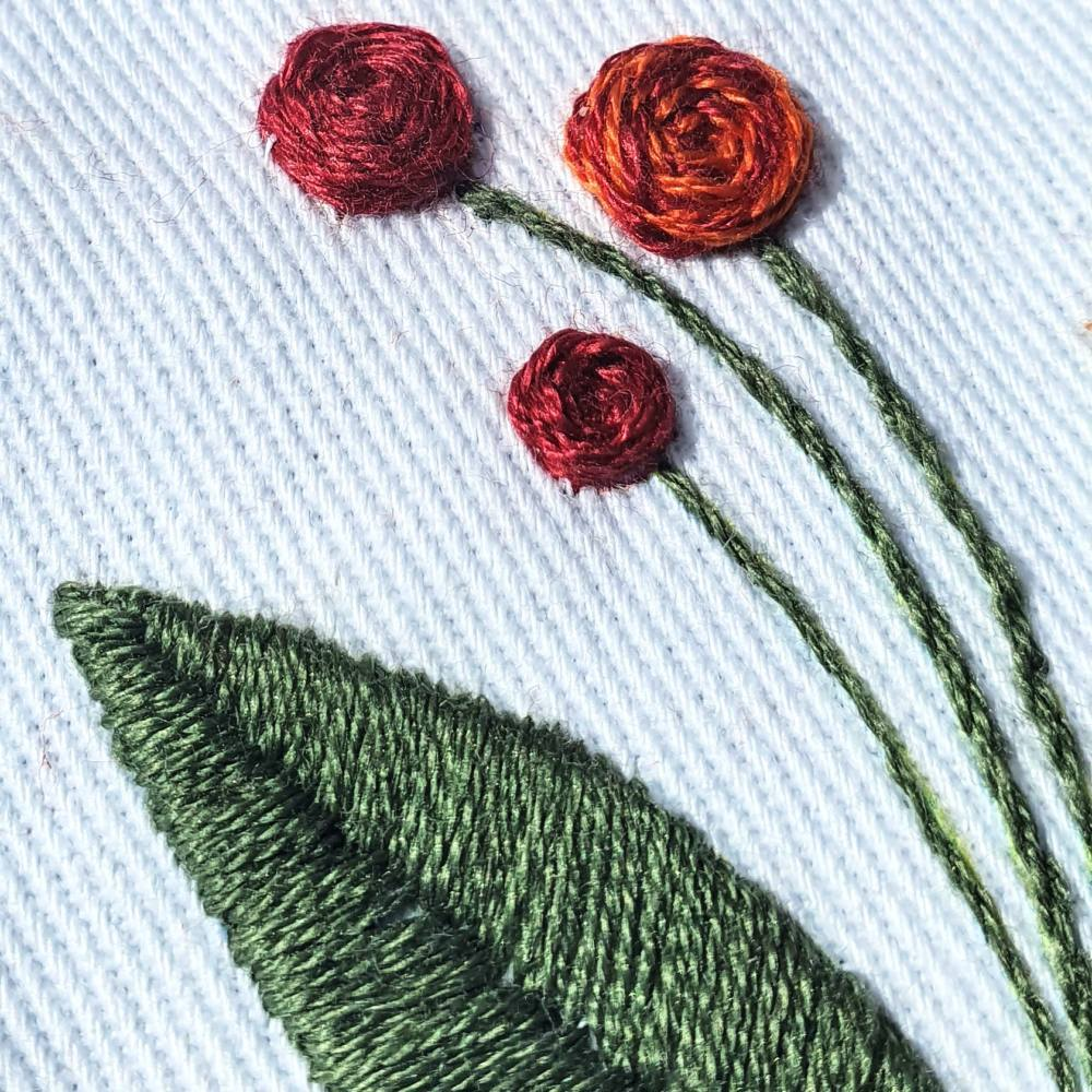 embroidery, introduction to embroidery, beginners, sewing, textiles, online class, kit, Red Flower, Leaves
