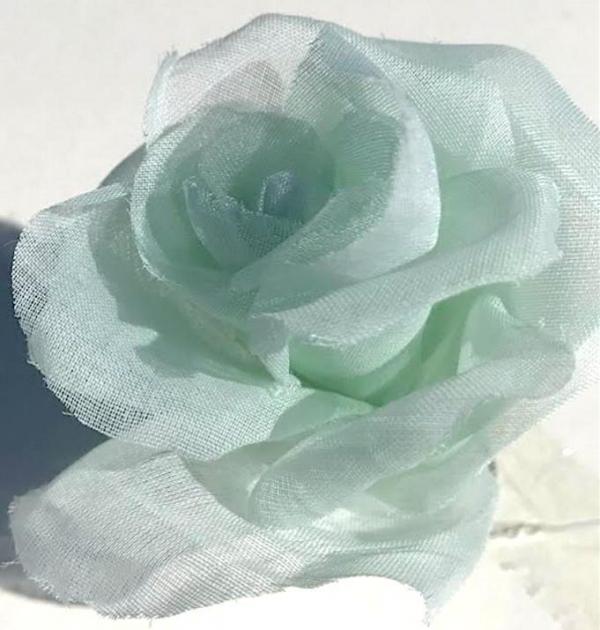 fabric flower, Organdie Rose, Rose, Pink Flower, Pink Rose, Fabric Rose, Green Rose, fabric Manipulation, Embroidery, sewing, SeaFoam Green