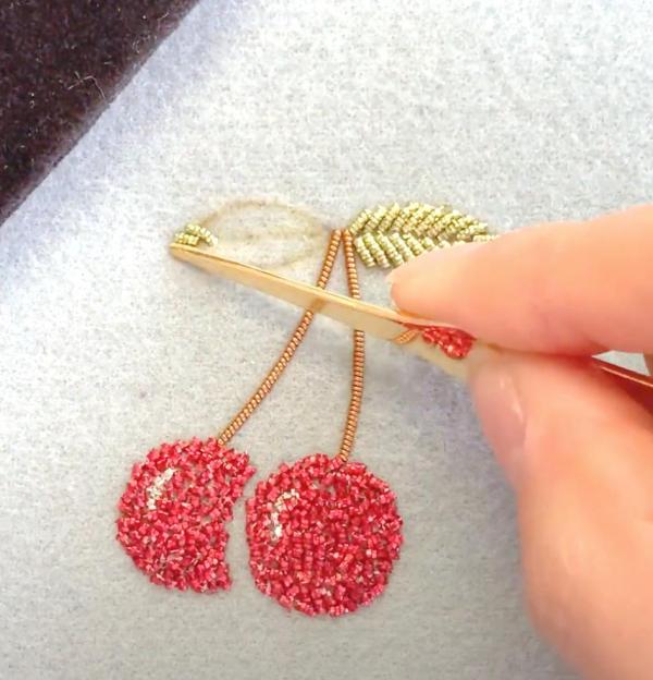 goldwork, gold work, Goldwork cherry, cherry, fruit, embroidery, online class, kit, chipping, red, gold, equipment, Mellor