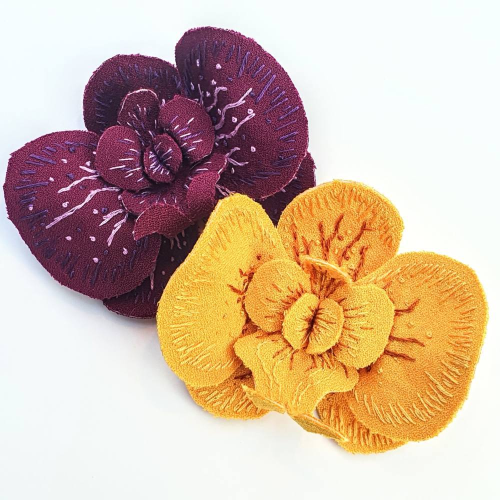 fabric flower, floral, orchid, fabric orchid, structural orchid, embroidery, fabric rose, fabric peony, fabric manipulation