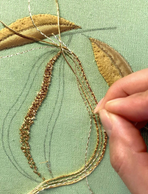 goldwork, gold work, product outcome, gold wire, embroidery, appliqué, padding, chipping, final outcome, couching, online class, pear class,