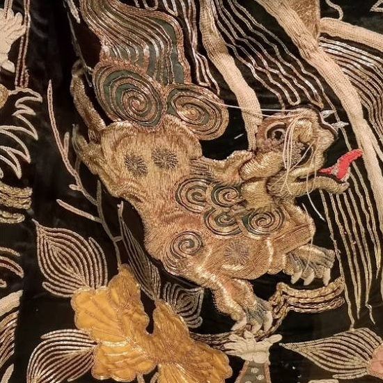 kimono, Japanese, goldwork, gold work, thread, sewing, embroidery,