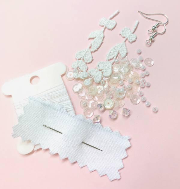 lace, beads, jewellery, earrings, thread, online class, kit, fish hooks, hook, product development,