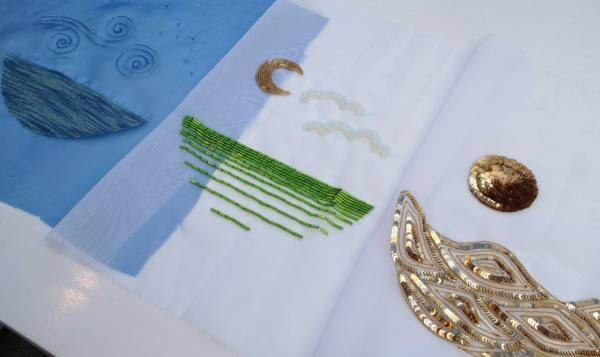 Tambour Beading, Tambour designs, Tambour, Final Outcomes, Design Outcomes, Sequins, beads, Stitching Green Beads, Gold Sequins