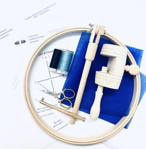 Tambour,Tambour Beading, beading, Tambour Stitching, Embroidery Kit, Embroidery, Embroidery Hoop, Thread, Tambour Hook, Scissors, Online Class