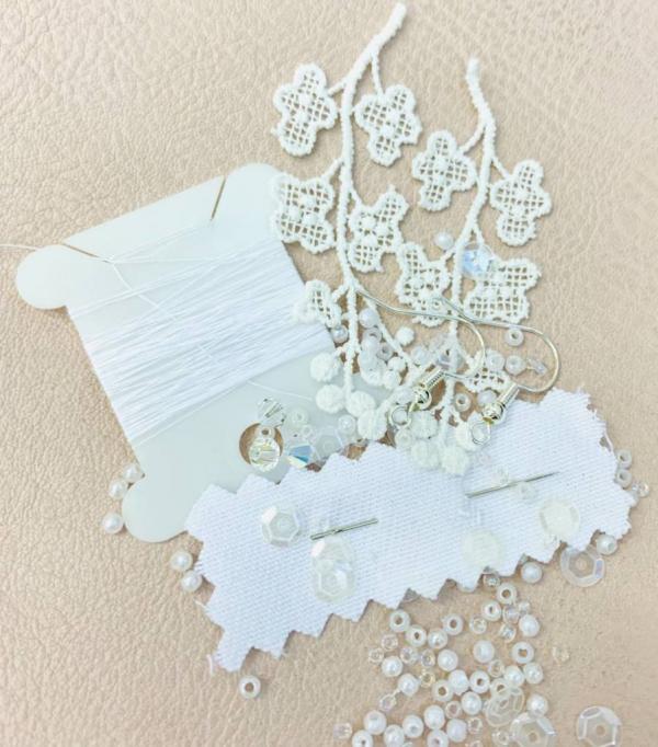 lace, beads, jewellery, earrings, thread, online class, kit, product development,