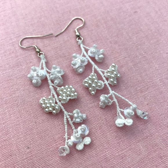 lace, jewellery, earrings, online class, beading, beads, sequins, hook, fish hook, pearl, embroidery