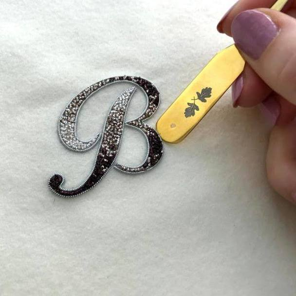Gold work, goldwork, Mellor, Equipment, Monogram, Monogramming, Lettering, Chipping, embellishments, product outcome, online class,