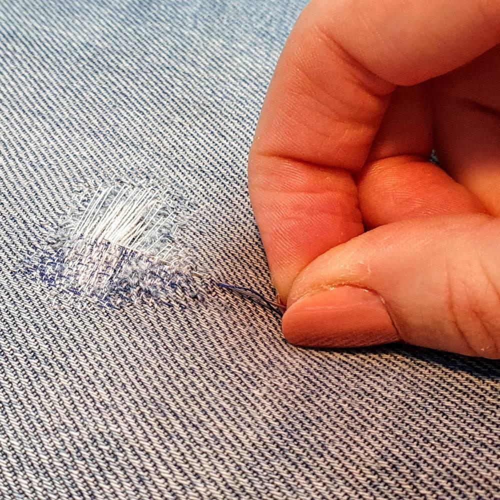Darning, darning online class, online class, darn, repair, sewing, textiles, stitch, denim