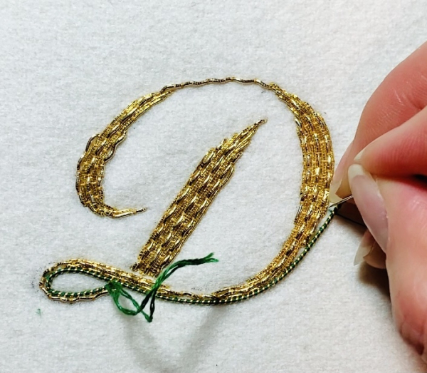 Goldwork, gold work monogram, monogramming, couching, Pearle Purl, gold wire, wire, thread, lettering, letters, green wire, product development