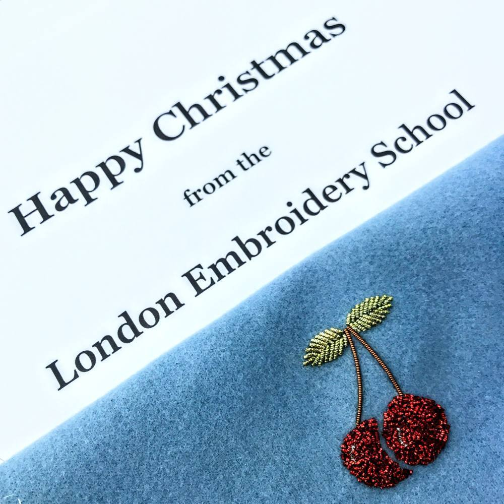 Goldwork, gold work, goldwork cherry, Christmas, chipping, embroidery, beads, product outcome,