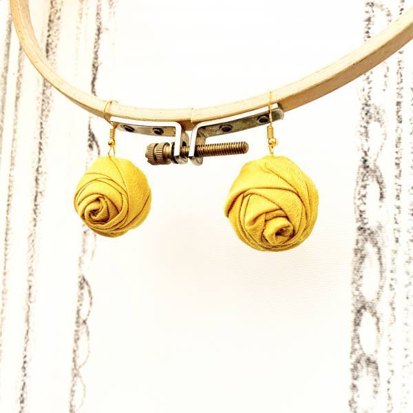 earrings, fabric flowers, outcome products, accessories, yellow flowers, peony,