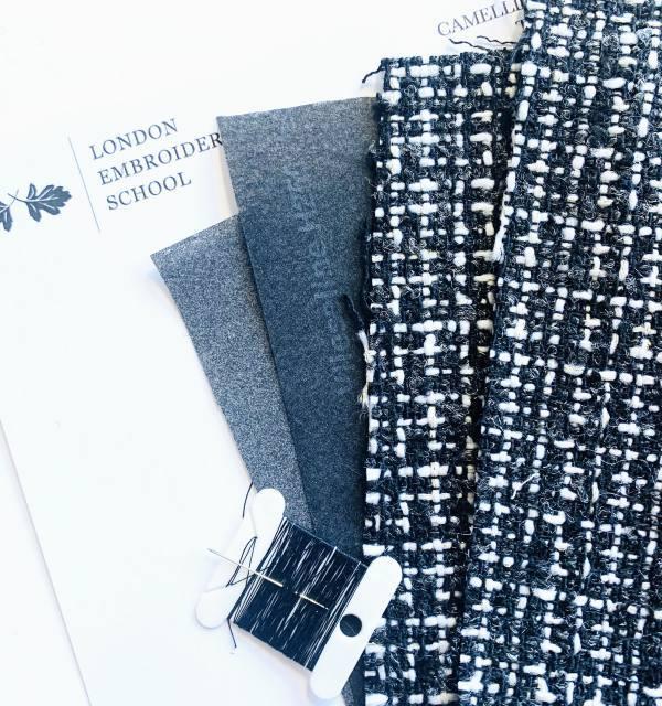online class, kits, stitching kits, textiles kits, fabric, tweed, thread,