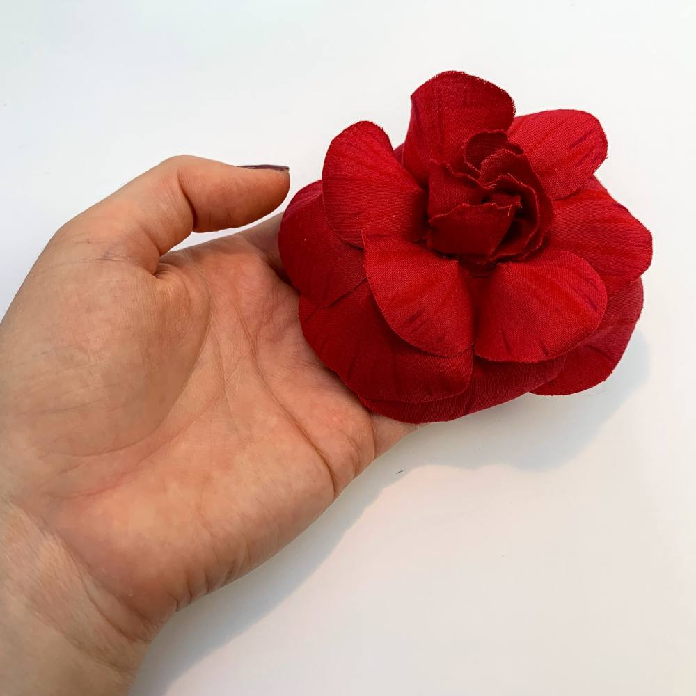 Fabric Flower, Rose Flower, Camellia Flower, Fabric Manipulation, Final Product outcome, red, red flower