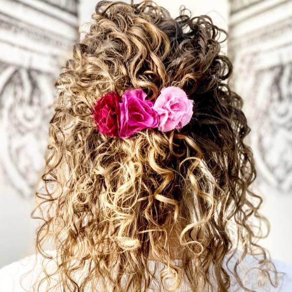 chiffon roses, rose barrette, hair flower accessories, hair flowers, fabric flowers, red flowers, pink flowers, barrette, fabric roses, outcome product