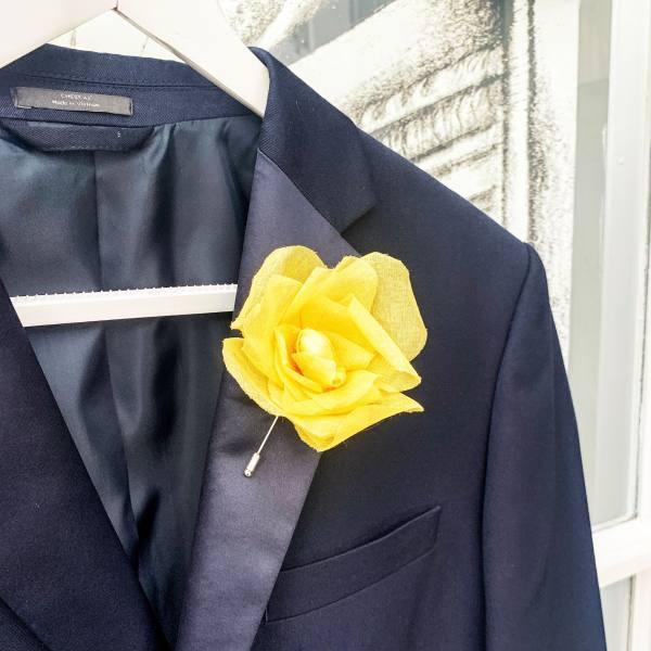 fabric flower, fabric flowers, yellow flower, blazer flower, brooch, flower brooch, accessories,