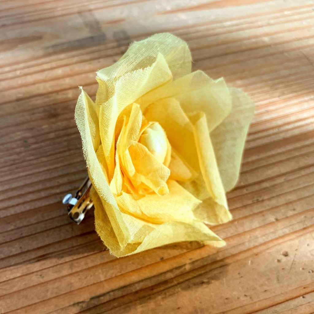 fabric flowers, yellow flowers, barrette, fabric rose, outcome product, flowers, hair accessories, hair clip, hair pin,