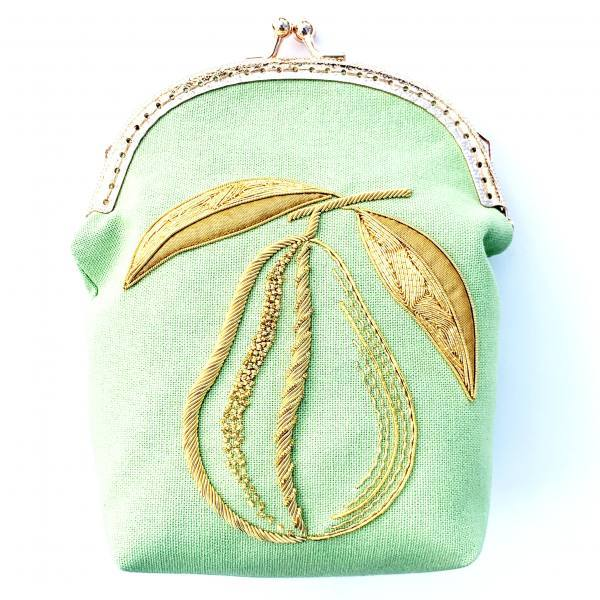 goldwork, gold work, small bag, pear, bag, embellishment, embroidery, chipping, padding, bag, green bag, clasp, bag clasp, product outcome, final outcome,