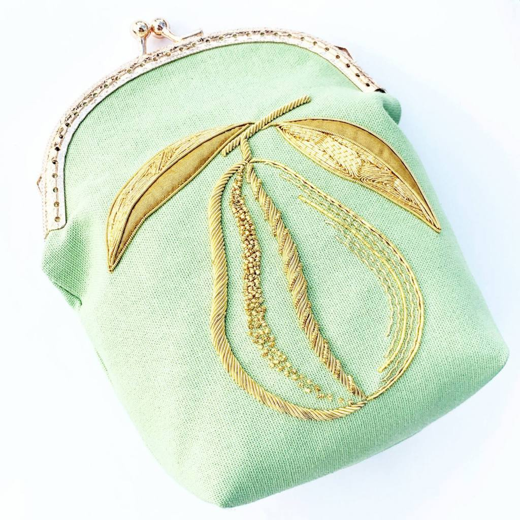 goldwork, gold work, bag, small bag, pear, online class, embellishment, embroidery, chipping, padding, bag, green bag, clasp, bag clasp, product outcome, final outcome,