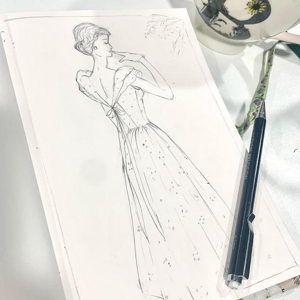 drawing, illustration, dress, costume