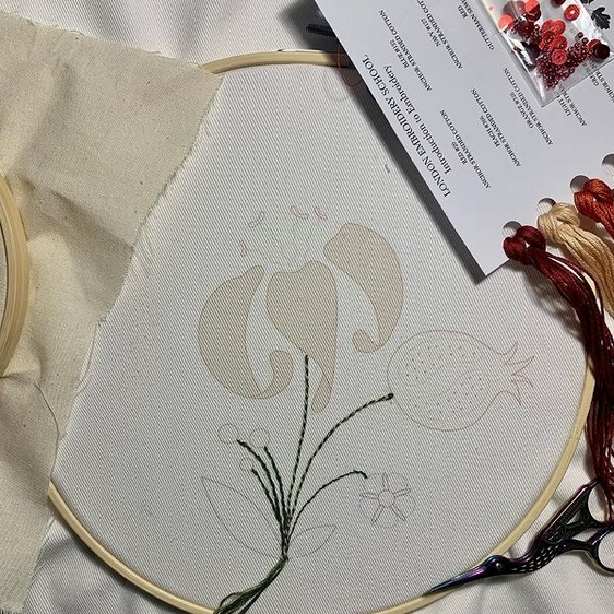 hand embroidery, learn embroidery, flower, stitching, wip